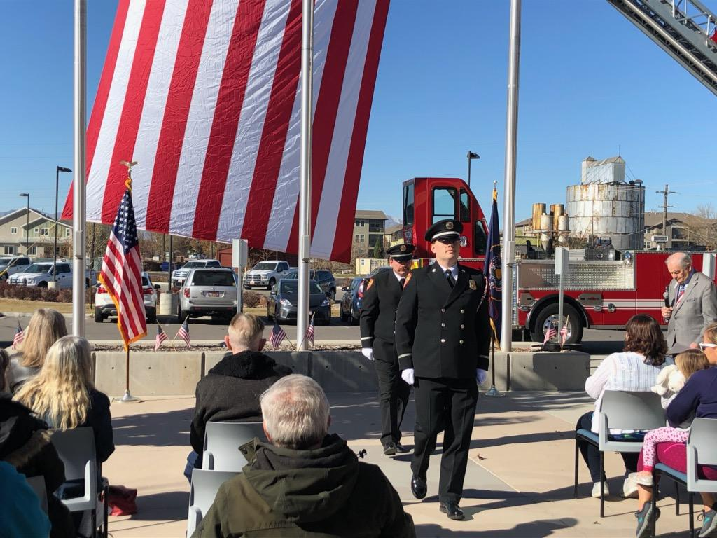 Firefighters during flag ceremony