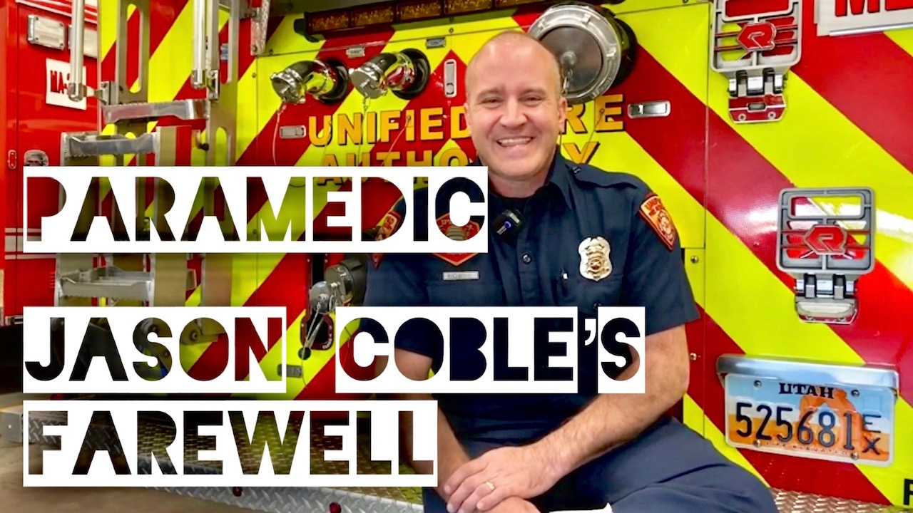 """""""Paramedic Jason Coble's Farewell"""" firefighter sitting on the back of an engine"""
