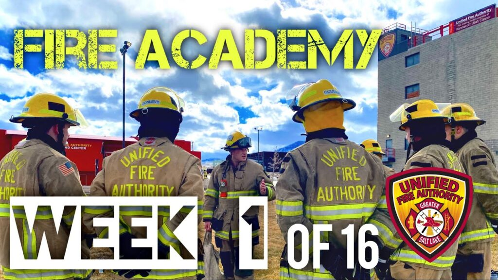"""Firefighters standing in circle, """"Fire Academy Week 1 of 16"""""""